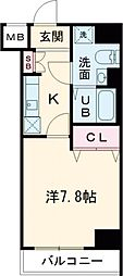 GENOVIA田町skygarden 5階1Kの間取り