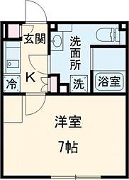 東急池上線 荏原中延駅 徒歩3分の賃貸マンション 3階1Kの間取り