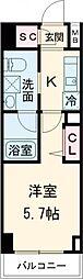 AXASレジデンス目黒東 5階1Kの間取り