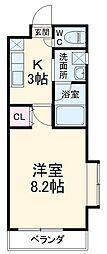 名古屋市営東山線 本郷駅 徒歩5分の賃貸マンション 2階1Kの間取り