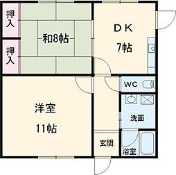 JR京葉線 葛西臨海公園駅 徒歩17分の賃貸マンション 1階2DKの間取り