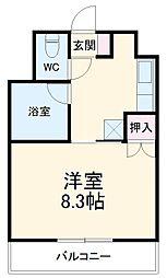 愛知高速東部丘陵線 はなみずき通駅 徒歩15分の賃貸マンション 2階1Kの間取り