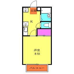 小田急江ノ島線 湘南台駅 バス9分 慶応大下車 徒歩1分の賃貸アパート 2階1Kの間取り