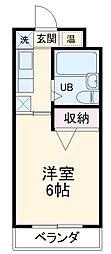 愛知環状鉄道 山口駅 徒歩2分の賃貸アパート 1階1Kの間取り