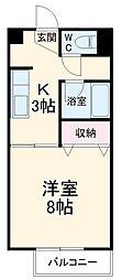 愛知環状鉄道 山口駅 徒歩3分の賃貸アパート 1階1Kの間取り