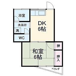 村田ハイツ(みたけ台) 2階1DKの間取り