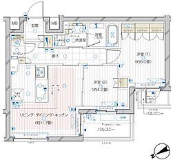 ザ・レジデンス駒込染井 4階2LDKの間取り