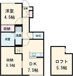 東武宇都宮線 西川田駅 5.1kmの賃貸アパート 1階1SDKの間取り