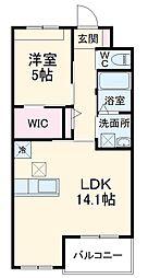JR東海道本線 鴨宮駅 徒歩26分の賃貸マンション 2階1LDKの間取り