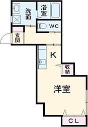 JR東海道本線 小田原駅 徒歩7分の賃貸アパート 1階ワンルームの間取り