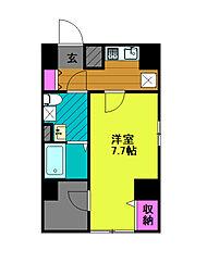 東京メトロ千代田線 綾瀬駅 徒歩8分の賃貸マンション 5階1Kの間取り