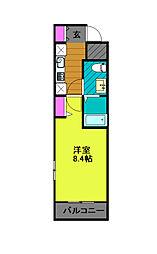 東京メトロ千代田線 綾瀬駅 徒歩8分の賃貸マンション 1階1Kの間取り