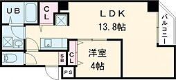 東京メトロ日比谷線 入谷駅 徒歩10分の賃貸マンション 9階1Kの間取り