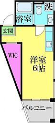 JR常磐線 亀有駅 徒歩10分の賃貸マンション 2階ワンルームの間取り
