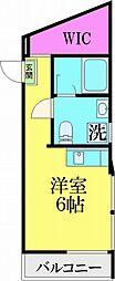 JR常磐線 亀有駅 徒歩10分の賃貸マンション 4階ワンルームの間取り