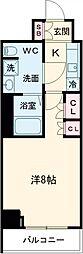 京王線 八幡山駅 徒歩9分の賃貸マンション 6階1Kの間取り