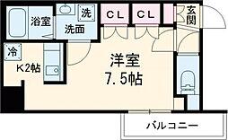 京王線 八幡山駅 徒歩9分の賃貸マンション 5階ワンルームの間取り