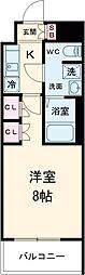 京王線 八幡山駅 徒歩9分の賃貸マンション 3階1Kの間取り