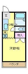JR中央線 国立駅 徒歩4分の賃貸アパート 1階1Kの間取り