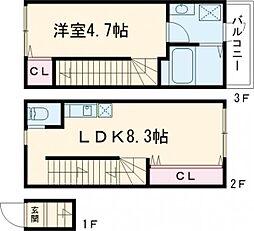京王線 千歳烏山駅 徒歩7分の賃貸アパート 2階1LDKの間取り