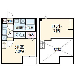 JR武蔵野線 東浦和駅 徒歩6分の賃貸アパート 2階1Kの間取り