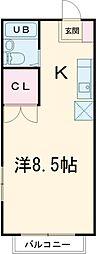 JR中央線 国立駅 徒歩6分の賃貸マンション 3階ワンルームの間取り