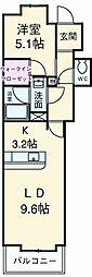 京王線 府中駅 徒歩2分の賃貸マンション 5階1LDKの間取り