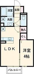 京王線 武蔵野台駅 徒歩3分の賃貸アパート 1階1LDKの間取り