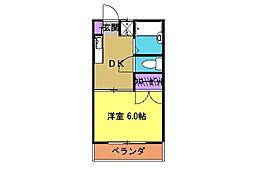 西武国分寺線 恋ヶ窪駅 徒歩2分の賃貸アパート 2階1DKの間取り
