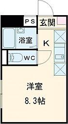 JR南武線 矢川駅 徒歩5分の賃貸アパート 1階ワンルームの間取り