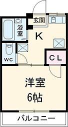 JR中央線 国立駅 徒歩5分の賃貸アパート 1階1Kの間取り