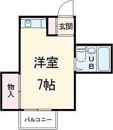 アローズ 2階ワンルームの間取り