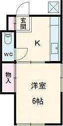 JR南武線 谷保駅 徒歩16分の賃貸アパート 2階1Kの間取り