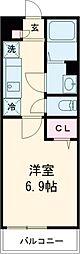 JR南武線 西国立駅 徒歩8分の賃貸アパート 2階1Kの間取り