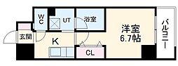 名鉄瀬戸線 森下駅 徒歩4分の賃貸マンション 5階1Kの間取り