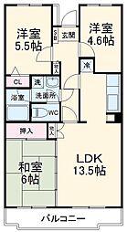 小田急小田原線 町田駅 徒歩16分の賃貸マンション 2階3LDKの間取り