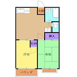 JR南武線 矢川駅 徒歩7分の賃貸アパート 1階2DKの間取り
