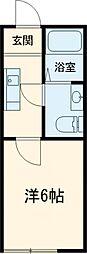 京王線 長沼駅 徒歩14分の賃貸アパート 2階1Kの間取り