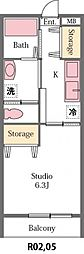 JR高崎線 北本駅 徒歩28分の賃貸アパート 1階1Kの間取り