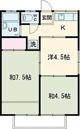 田村ハイツA 2階2DKの間取り