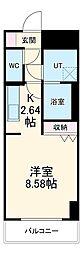 あさひグランレジデンシア高崎II 4階1Kの間取り