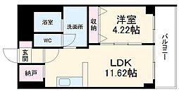 あさひグランレジデンシア高崎I 3階1LDKの間取り