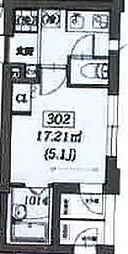 西武新宿線 沼袋駅 徒歩14分の賃貸マンション 3階1Kの間取り