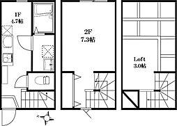 東急目黒線 大岡山駅 徒歩13分の賃貸アパート 1階1DKの間取り