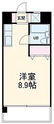 龍ハイツ 3階ワンルームの間取り