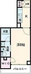 都営浅草線 西馬込駅 徒歩10分の賃貸マンション 3階1Kの間取り