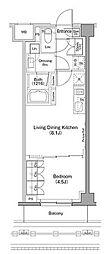 東急東横線 自由が丘駅 徒歩22分の賃貸マンション 1階1LDKの間取り
