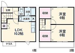 JR東海道本線 豊橋駅 バス20分 西口下車 徒歩8分の賃貸テラスハウス 1階2LDKの間取り