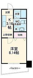 沖縄都市モノレール 美栄橋駅 徒歩15分の賃貸マンション 6階1Kの間取り