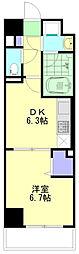 JR横浜線 新横浜駅 徒歩6分の賃貸マンション 2階1DKの間取り
